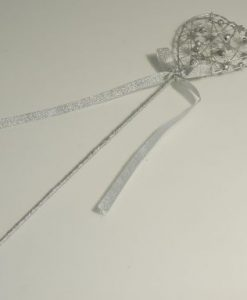 Silver flower girl wand
