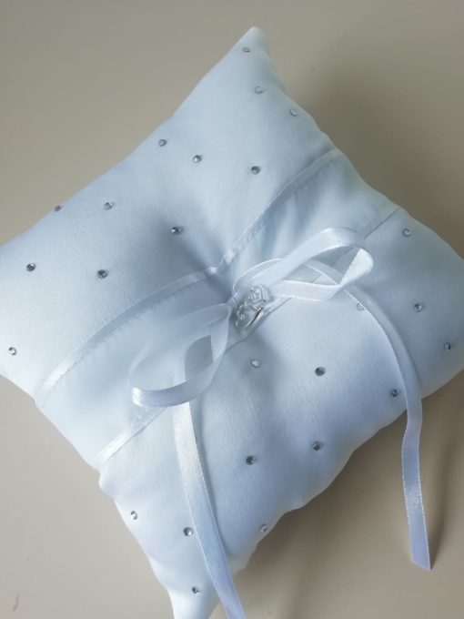 White rhinestone wedding pillow