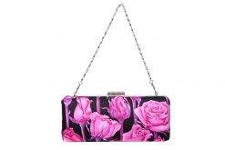 Sophia Handmade Clutch with Diamante Clasp. Pink Roses Silver Chain Ireland
