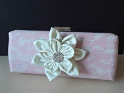 Vintage Inspired clutch with tilda birdcage fabric, pink bag, bridal