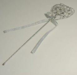 Silver flower girl wand
