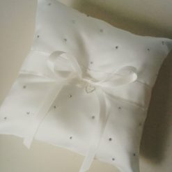 Ivory rhinestone wedding ring pillow