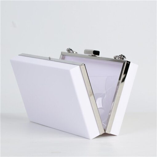White acrylic clutch personalised bridal