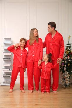 Christmas Red Satin Pj's Personalised - Ladies